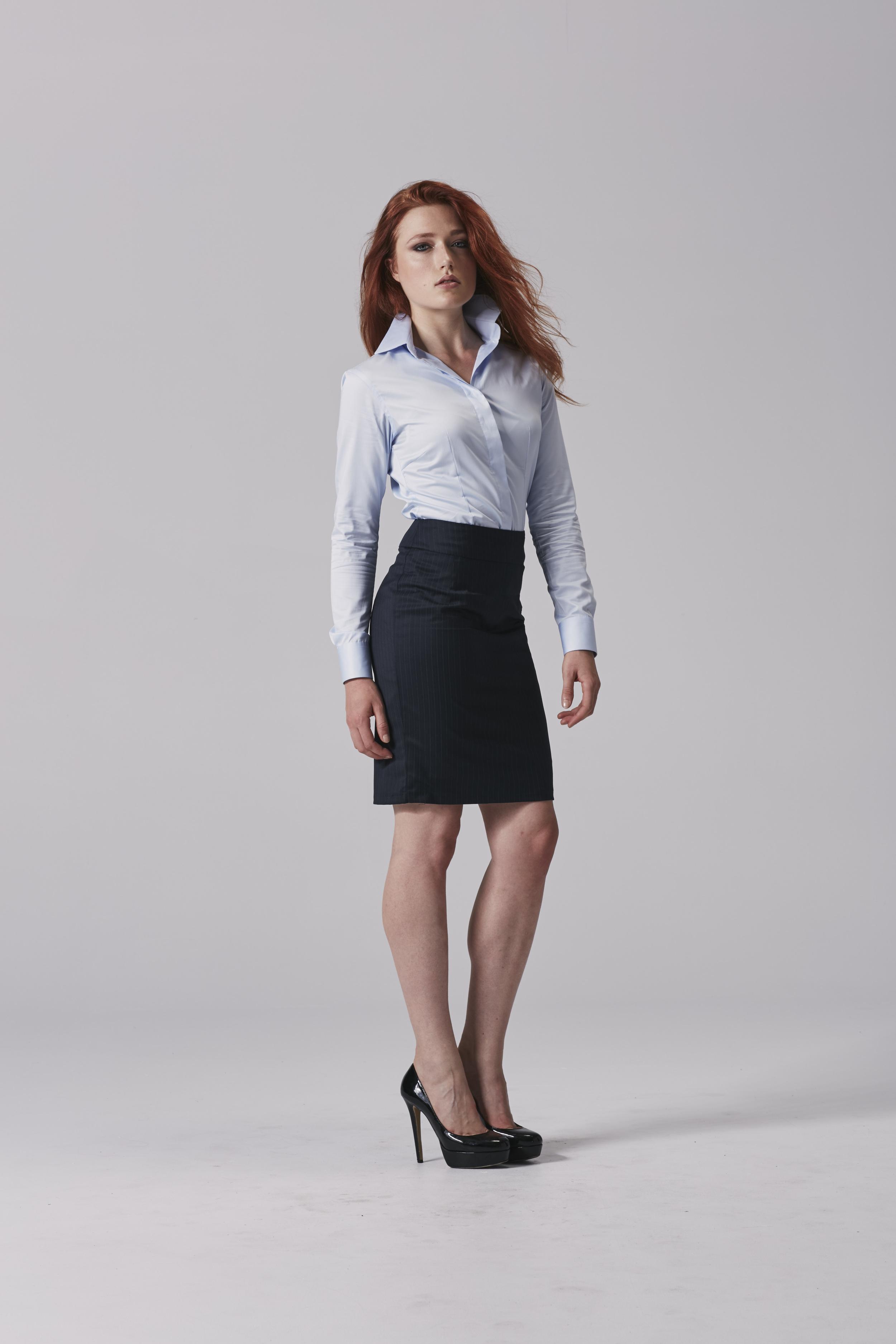 Ladies navy skirt Ladies business shirt.jpg