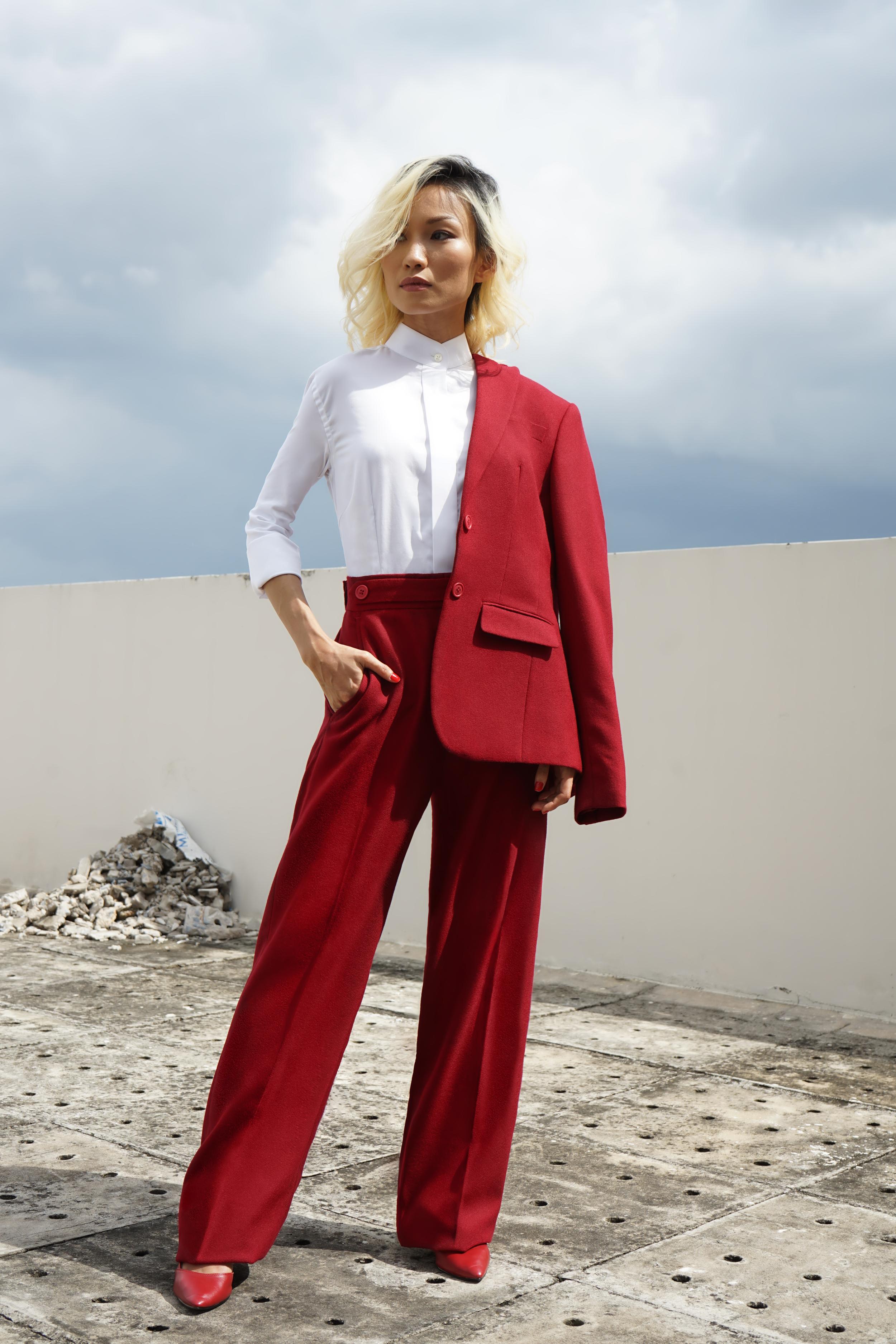women's wide leg red pant suit
