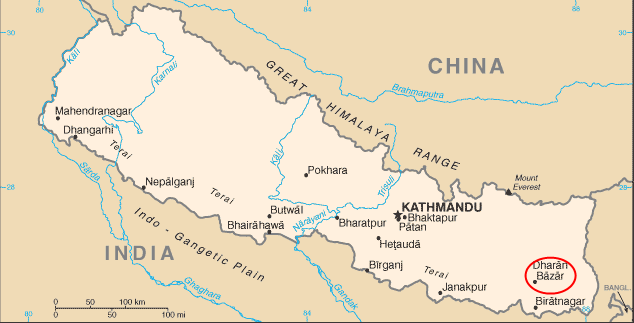 This is a map of Nepal. We are going to be located in Dharan city.