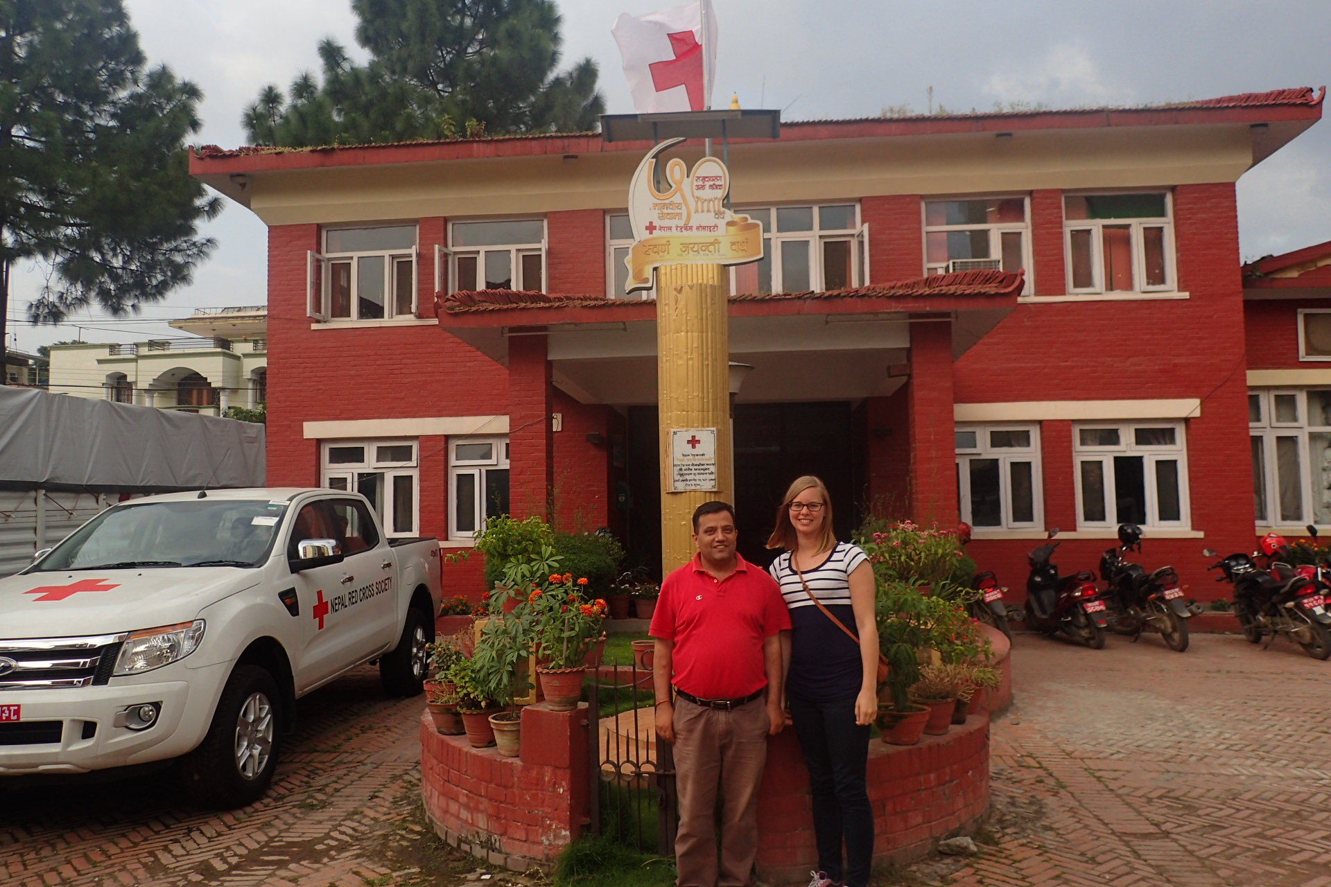 Our national contact person, Bipul and Liv outside Nepal Red Cross Headquarter.