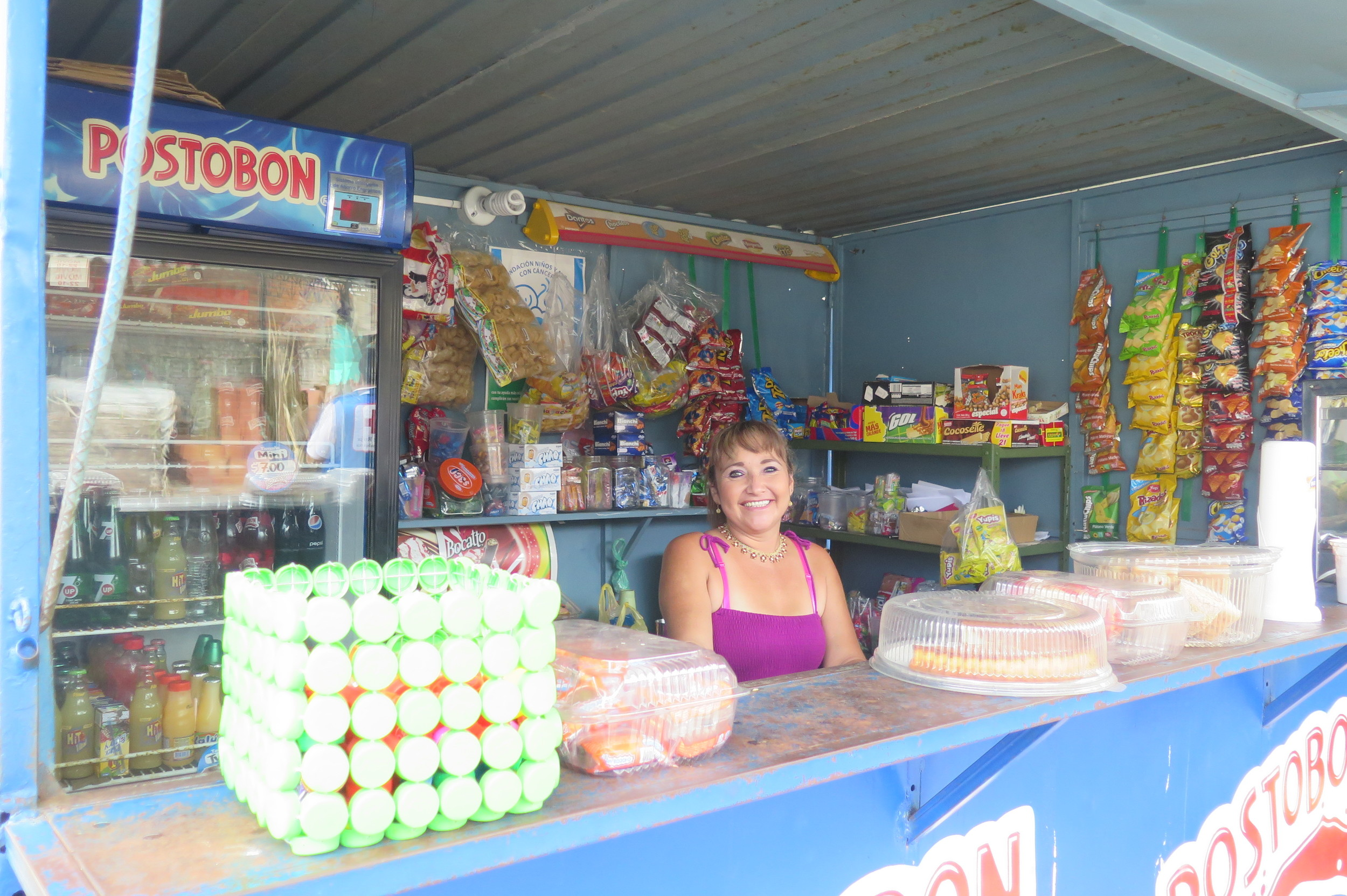 The local Kiosk owner Gloria always have cold water and a smile :)