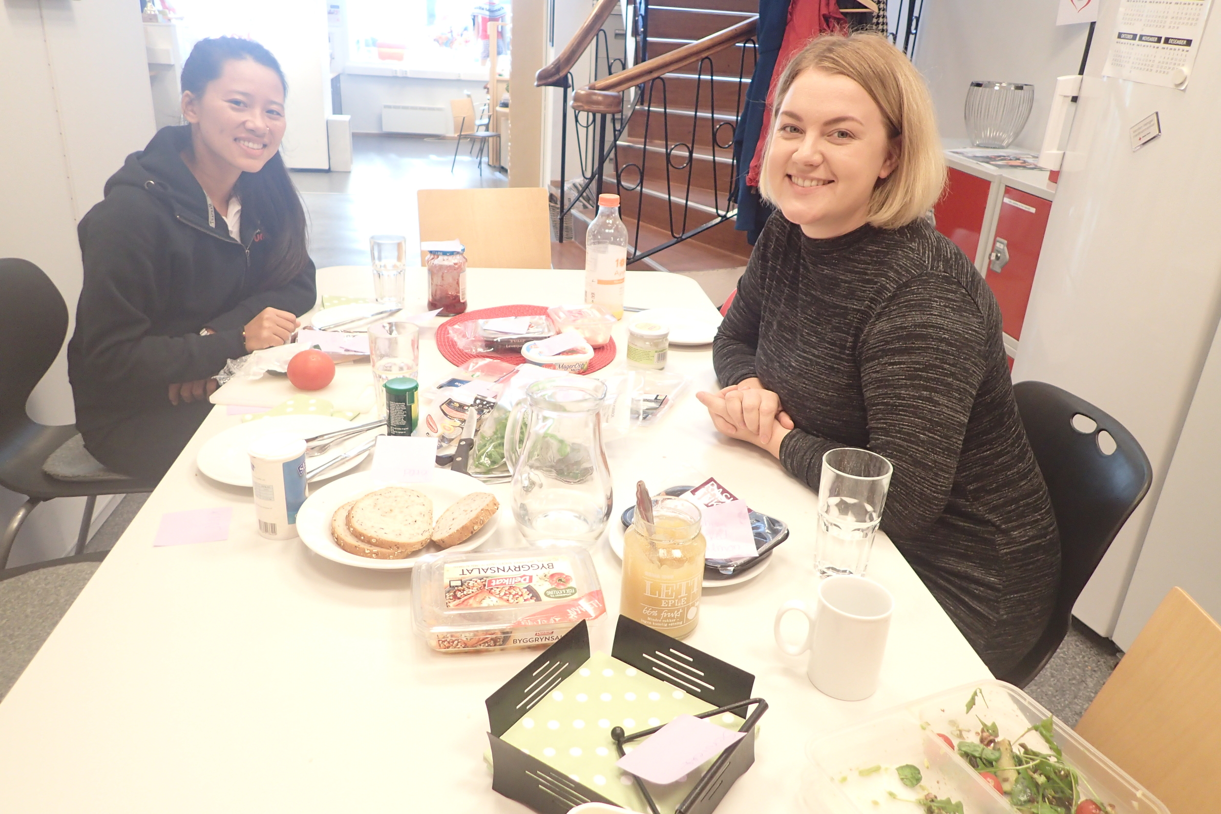 Second day at the office with our district contact person, learning Norwegian names of some food.