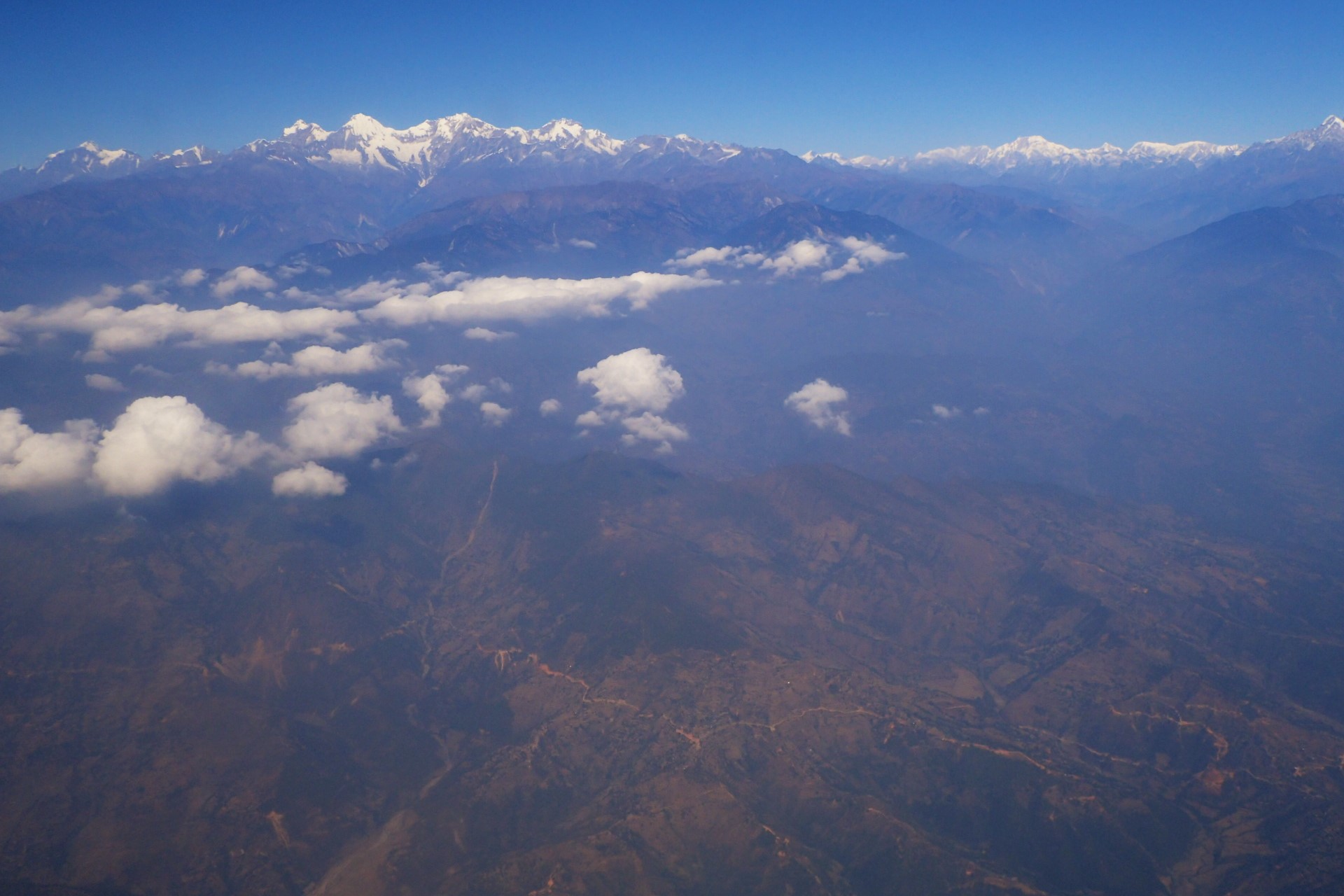 The Himalayas seen on the flight to Pokhara