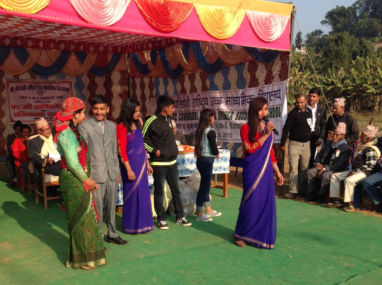Red Cross Youth Volunteers performing a role play about generation gap in the School Anniversary karyakram at Chandi Devi Higher Secondary School