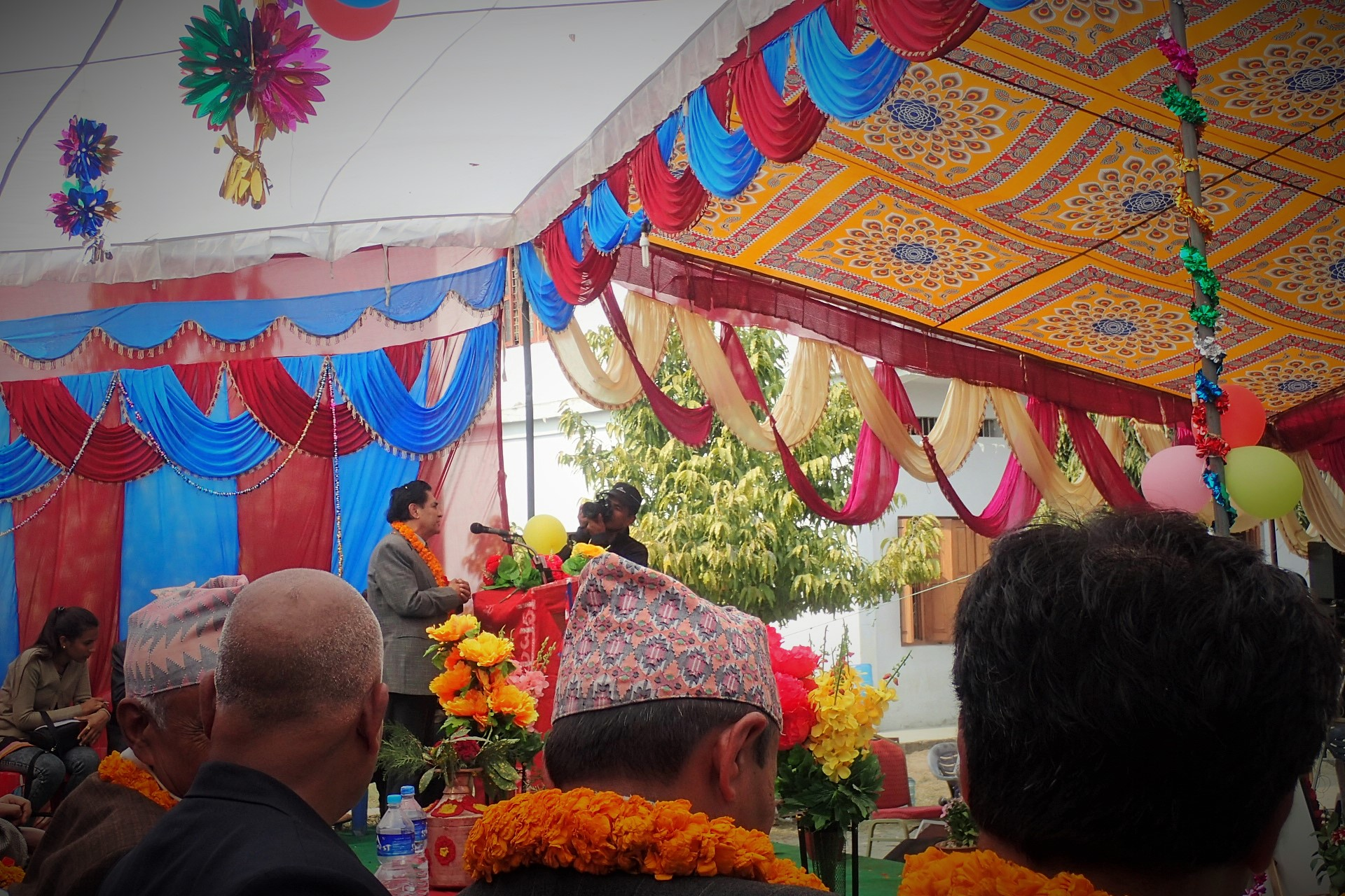 Nepal Red Cross Society's General Secretary giving his speech at the opening ceremony