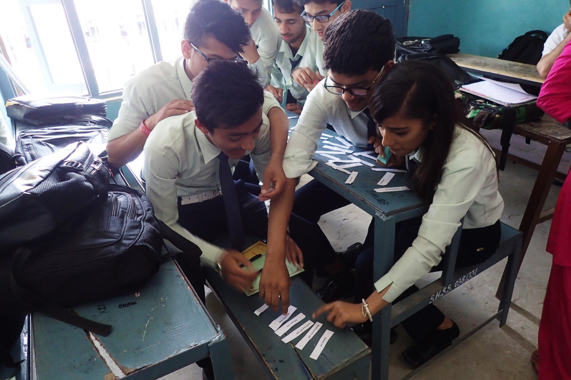 Group work at Satyawati Higher Secondary School