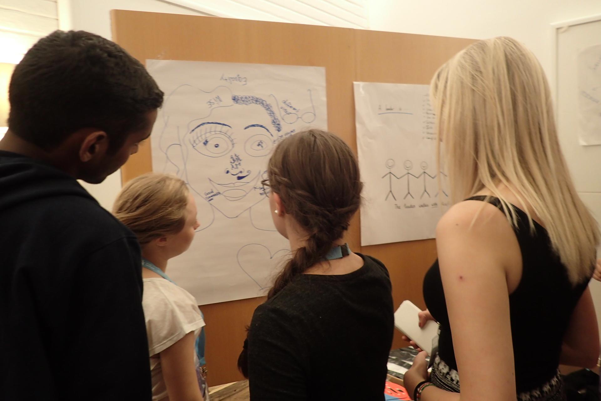 Discussing what a good leader is. Workshop held by Nassima Dzair, Interbridge