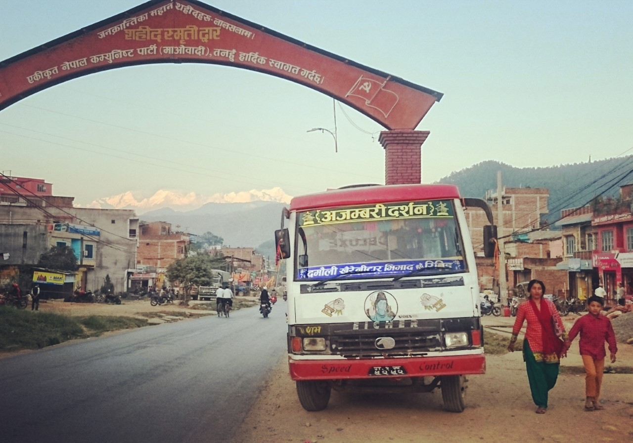 Annapurna Massif seen through the city gate of Damauli, Nepal. Photo: Kathrine Olsen Flaate.