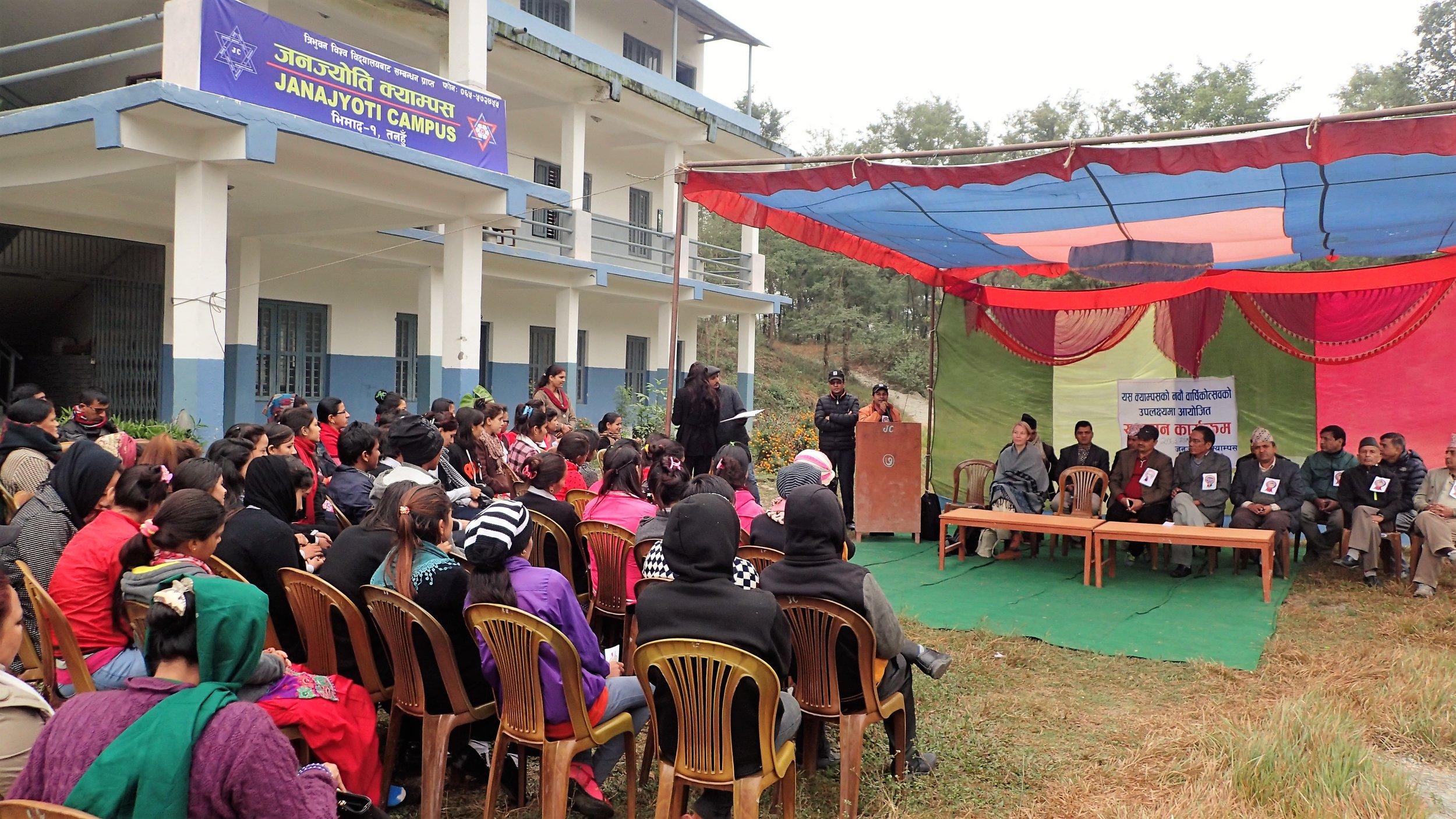 Establishment of new Youth Circle at Janajyoti Campus, Tanahun District. Photo: Ola Opdal.