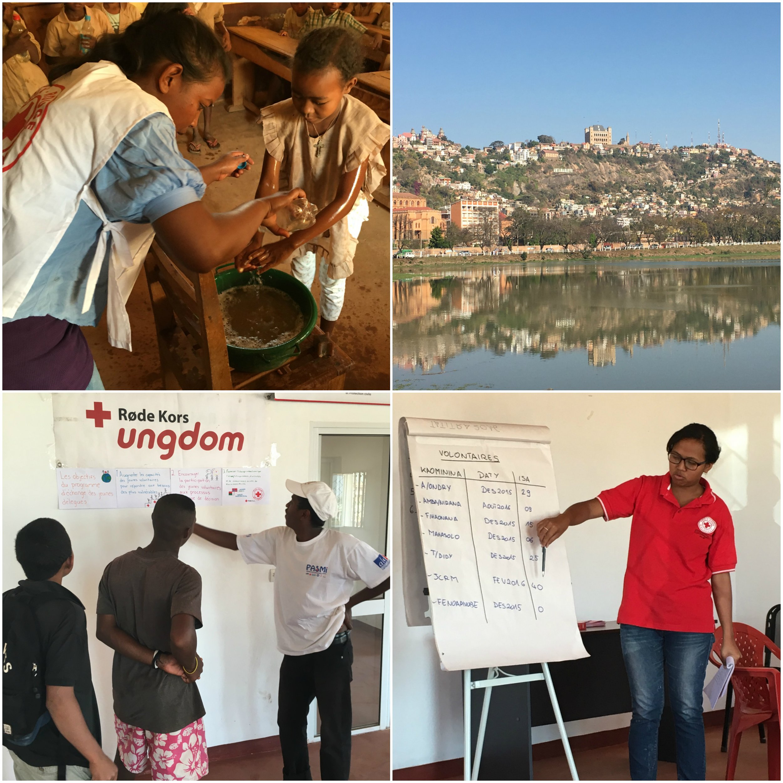 Top left: Celebration of Global Handwashing Day 15. October. Top right: View ofthe capital, Antananarivo. Bottom left: Youth volunteers discussing the objectives of Youth Delegate Exchange Programme. Bottom right: The Regional Red Cross coordinator talking about the number of volunteers in the region at the General Assembly.