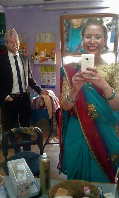 Ola Opdal and Kathrine O. Flaate ready to attend a Nepali Wedding. Photo: Kathrine O. Flaate