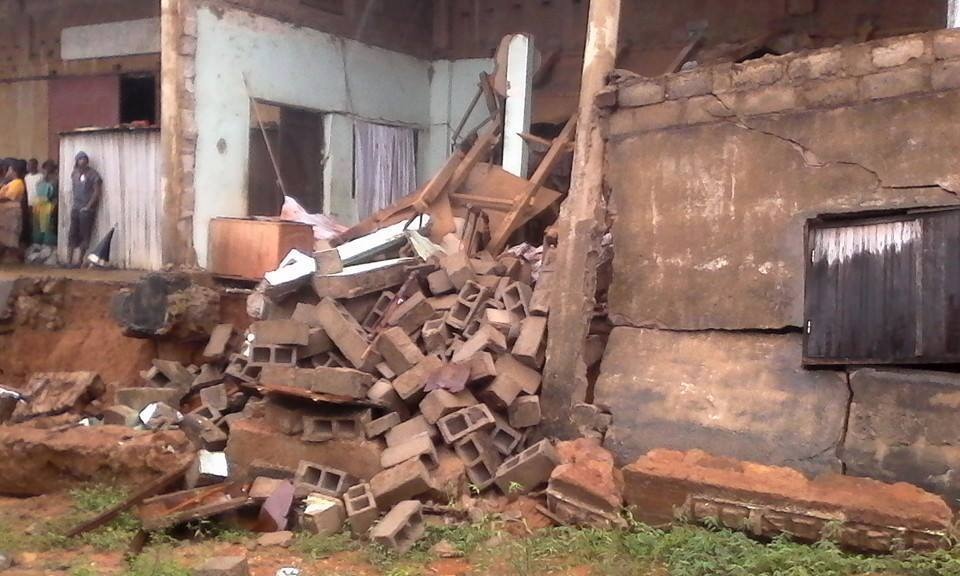 One person died and 5 other people were injured due to the collapse of this facade.  Photo credit:Malagasy Red Cross branch in Befandriana Nord