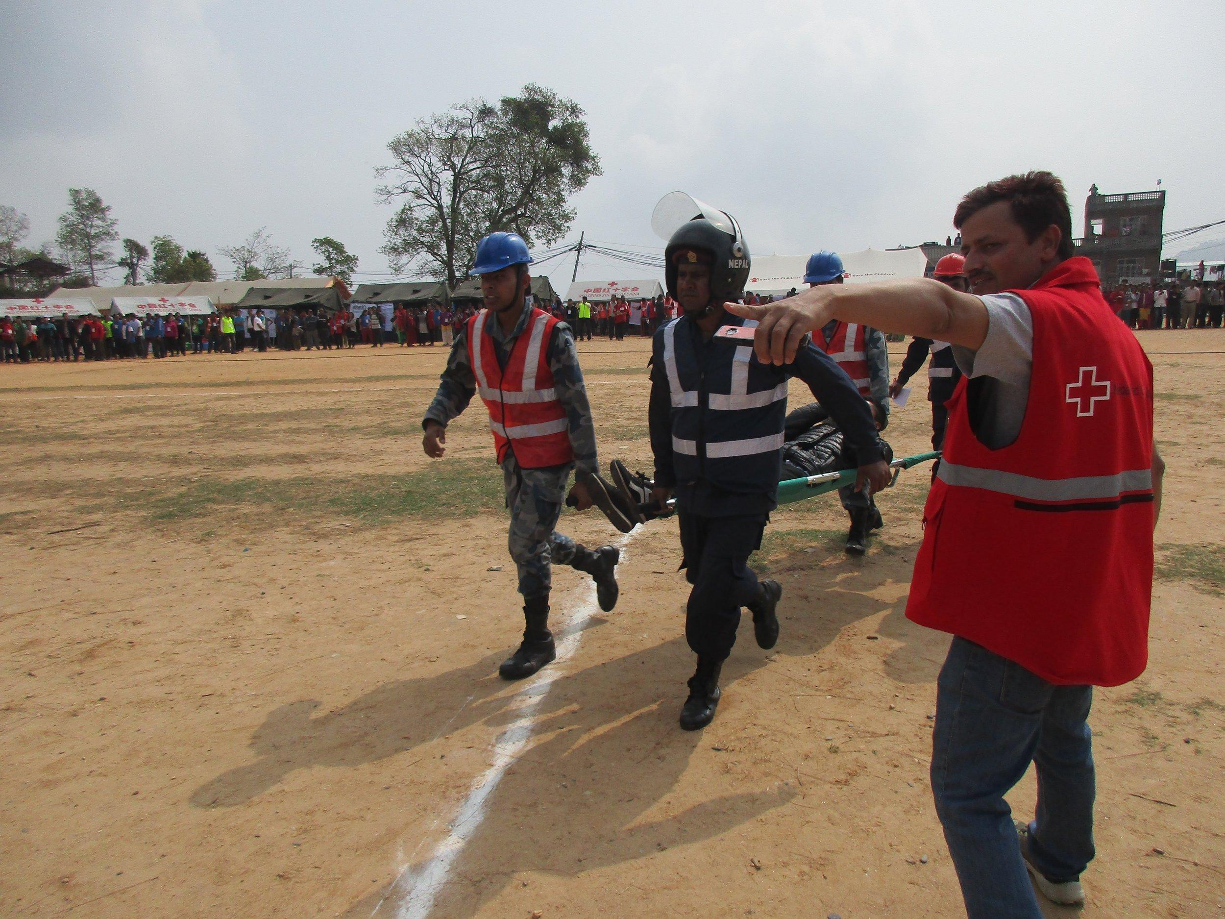 Eartquake simulation, Chautara, Nepal. Photo: Kathrine O. Flaate.