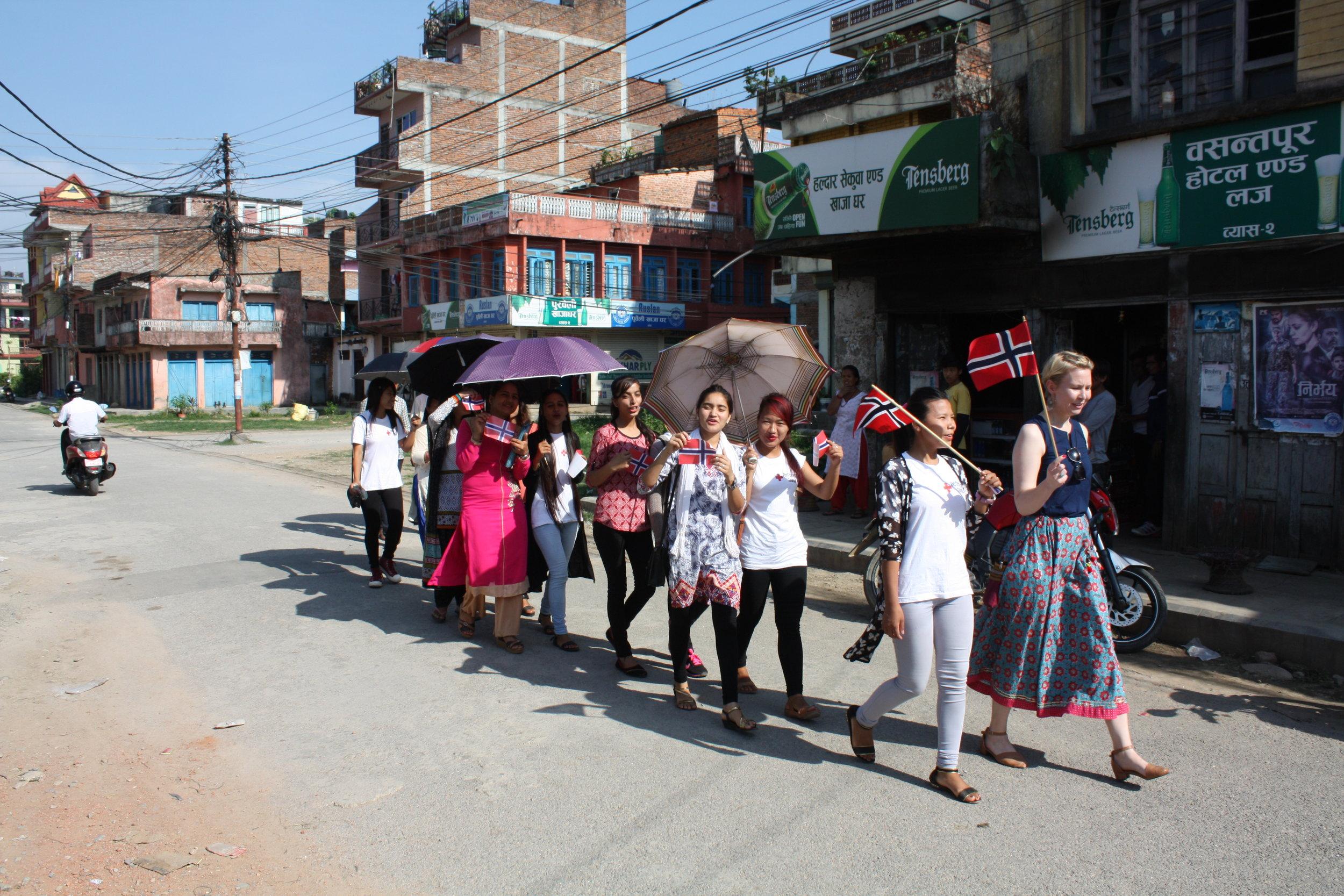 17th of May parade in Damauli, Nepal. Photo: Ola Opdal.