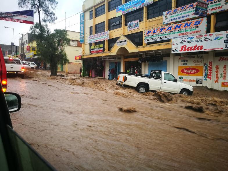 The rain flooding the streets of Naivasha.