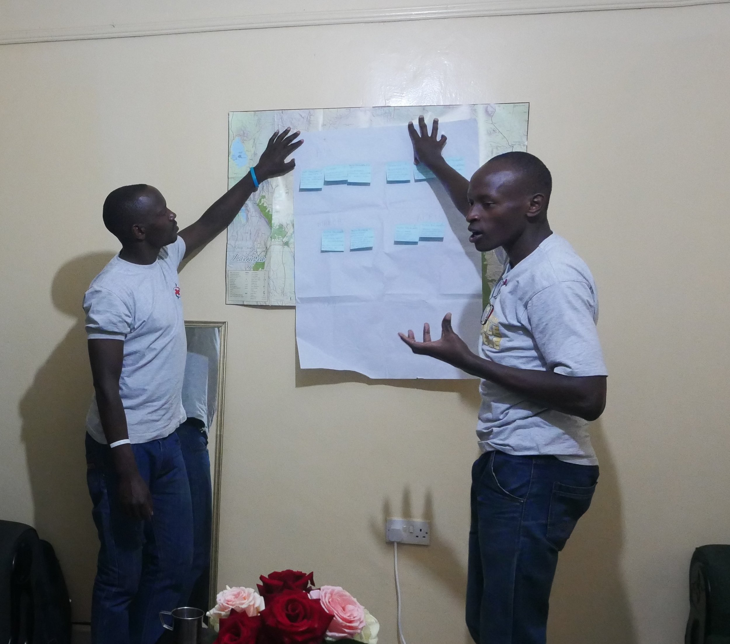 Youth Chair Amos Koech and BYC member Edwin Kagiri present their ideas to the group. Photo: Elfi Thrane Bemelmans.