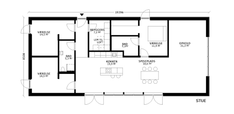 oneroom one 165 m2 stue