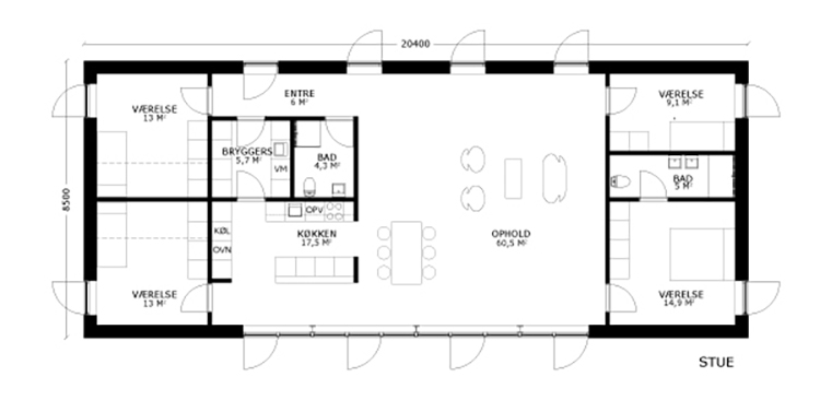 oneroom one 175 m2 stue