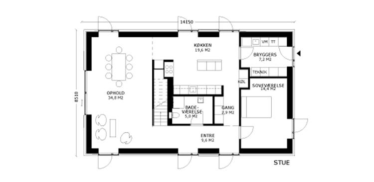 oneroom compact 185 m2 stue