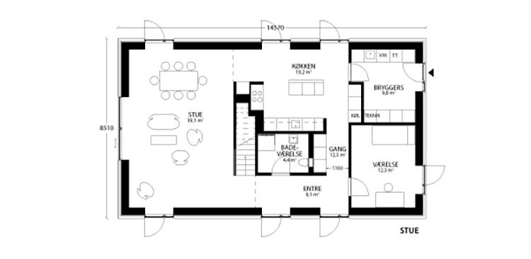 oneroom compact 195 m2 stue