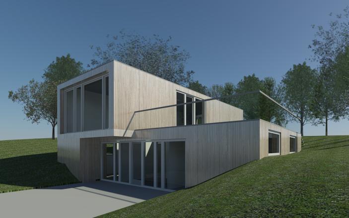 Forslag til ny villa i Højbjerg ved Aarhus. Huset er tilpasset et kuperet terræn og er stadig under udarbejdelse.