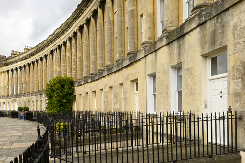 The Royal Crescent , one of Bath's iconic landmarks, built in 1767 with  museum ,  Royal Park  & public lawns.