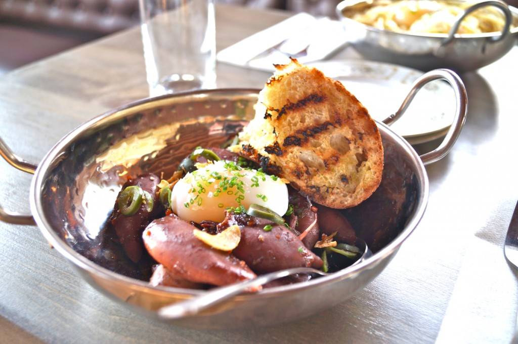 How to properly describe the gloriousness that is squid & eggs? (Photo courtesy of Tavern & Grocery.)