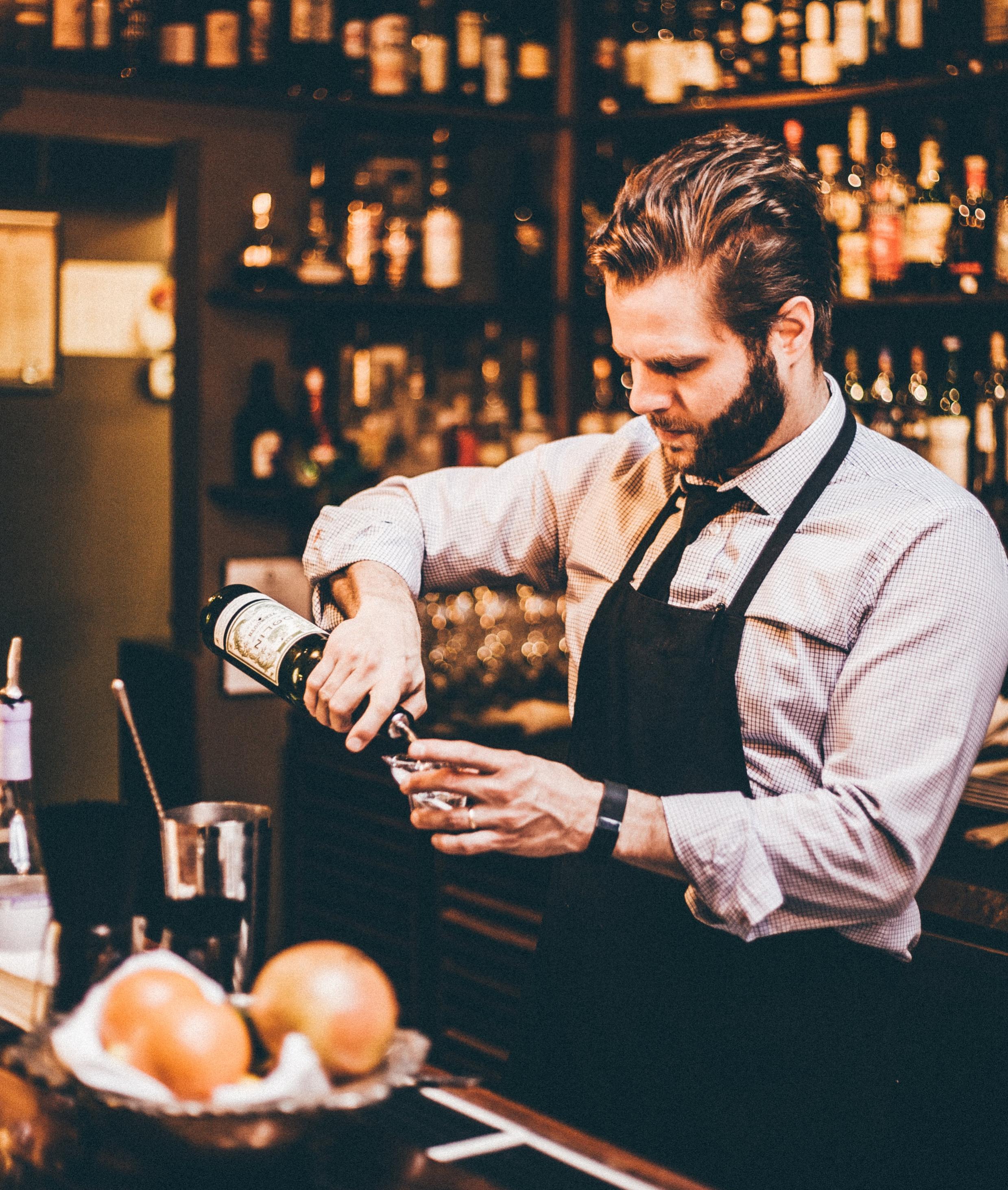 Micah LeMon: behind the bar.  (Photo courtesy of Tom McGovern)