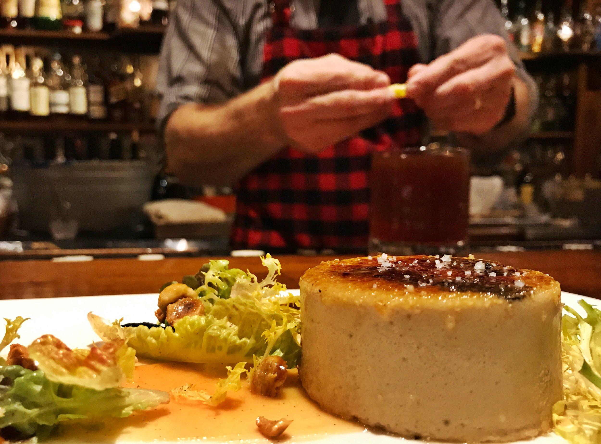 Foie Gras Brûlée + Doctor's Orders (S azerac rye, Nelson County Elderberry, Punt e Mes, Fernet ).