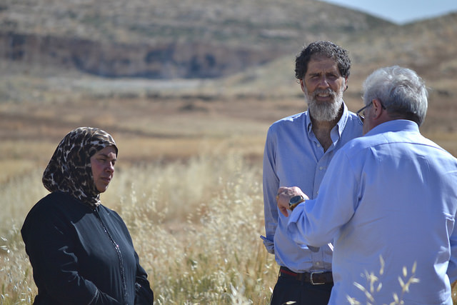 Rabbi Arik Ascherman of Rabbis for Human Rights with Fatma Mouhammd Nawaja from Susiya in the South Hebron Hills. Fatima's village is at risk of demolition. Palestinians must apply for permits in order to build in this area but only 1% of permits are granted, forcing people to build without permits and risk demolition. Rabbis for Human Rights help defend Palestinian communities in the area. (Photo:  Eoghan Rice / Trócaire ) Attribution 4.0 International (CC BY 4.0)
