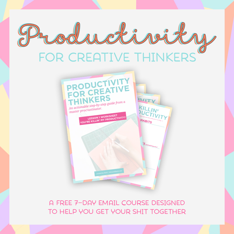 Created by Kitty & Buck: The 7-day FREE e-course built especially for creatives who are struggling with being productive and getting things done. We work through identifying productivity killers, how to overcome them, and planning an effective schedule.