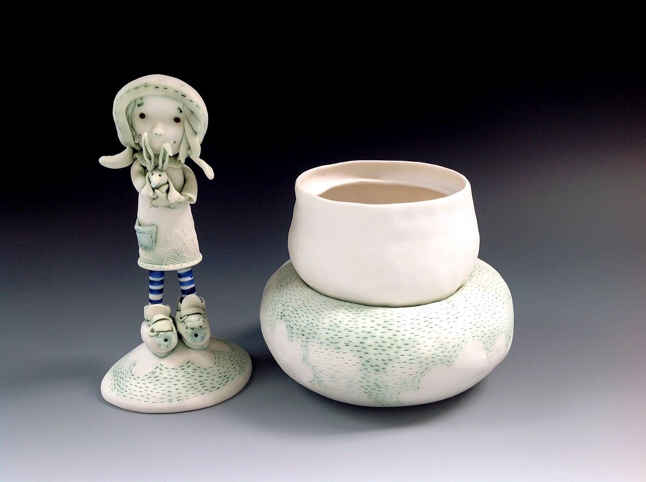 'Heidi and Bilby' Porcelain Pet Cremation Urn 2016 Fleur Schell lid off.jpg