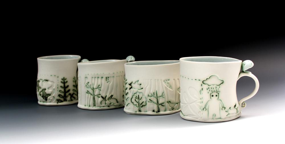 Copy of Set of porcelain cups W13cm x H9cm x D9cm