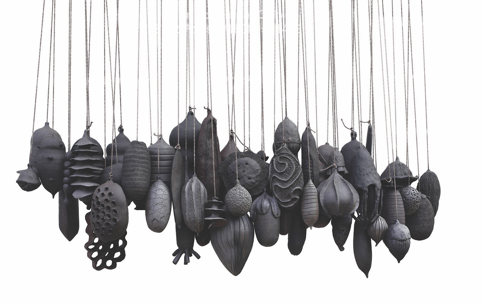 Detail of 'Life is in the waiting' Seed pods, dark mid fire clay and string.