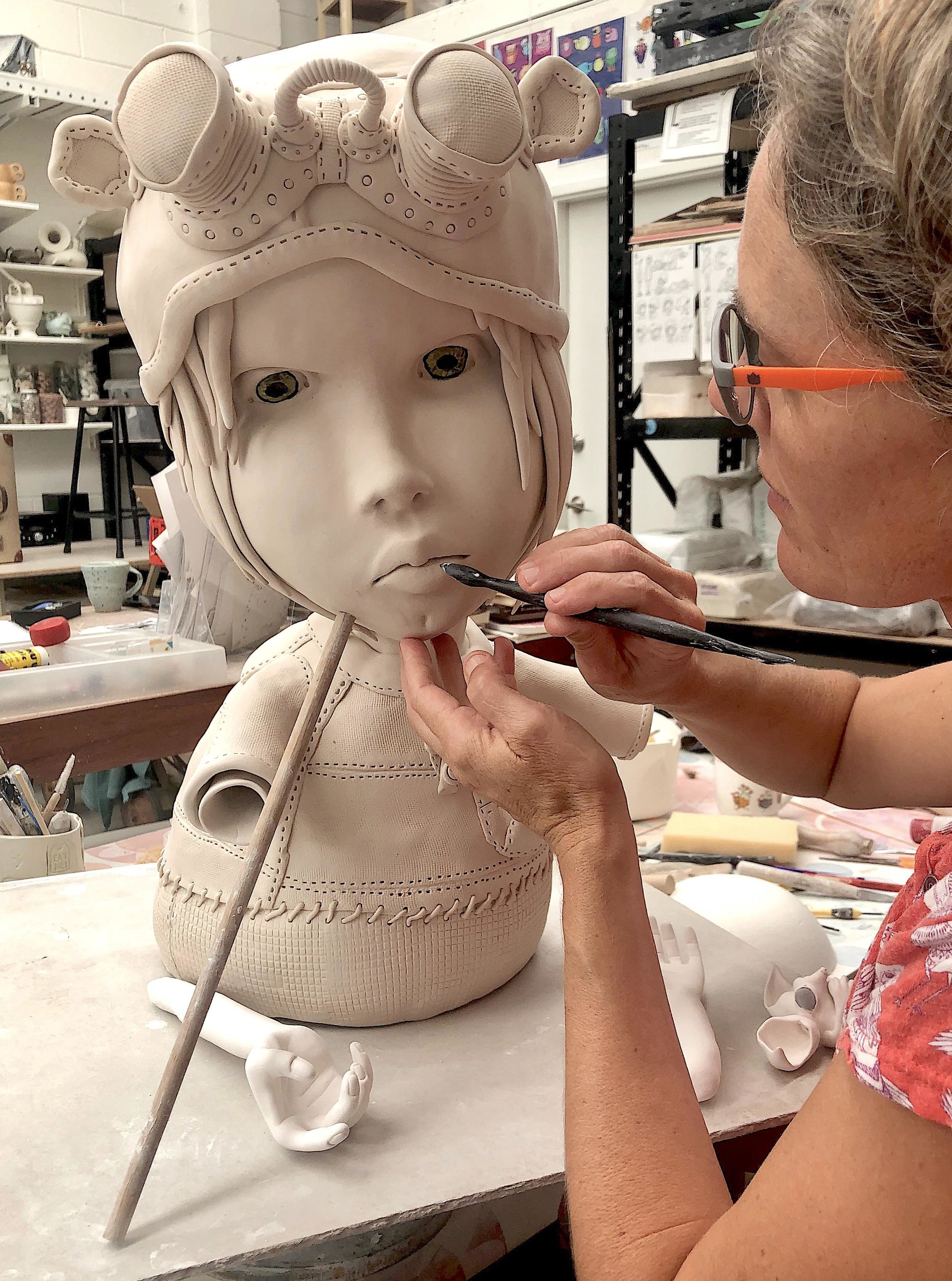 In November 2018 I had the great privilege to work with Internationally esteemed figurative sculptor Cristina Cordova  at Gaya Ceramics centre in Ubud Bali. I am so grateful for all the tricks and advice she generously shared.