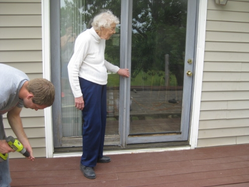 Grandma Lorene in 2012.  She was so excited about us replacing the deck flooring to make it safer for her exercise!