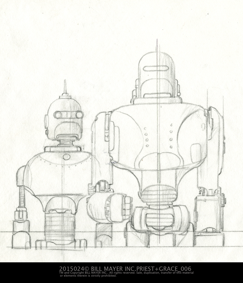 Revised sketch of the cover robots... Now that I am revisiting this I think I like that down turned mouth on the lady-bot... At the time I thought the expression was too negative.