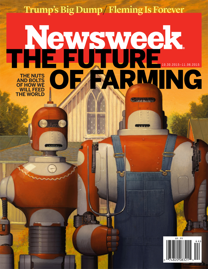 """Cover for """"The Future of Farming"""" Nuts and Bolts of How We Will Feed the World. © Bill Mayer 2015"""