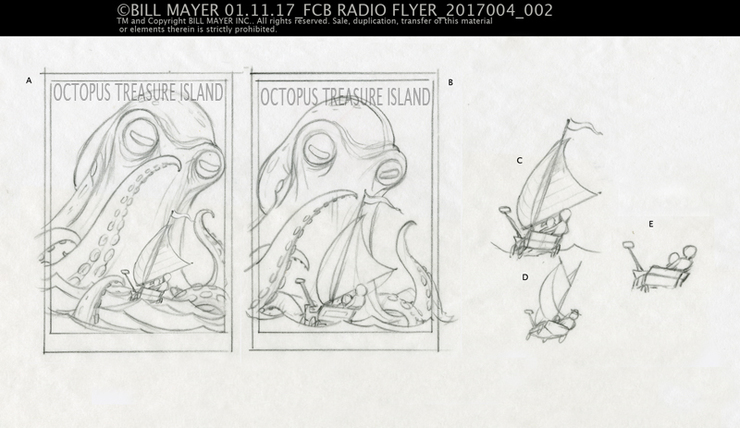 Slightly tighter thumbnails working out prportions on size of the boat and octopus.