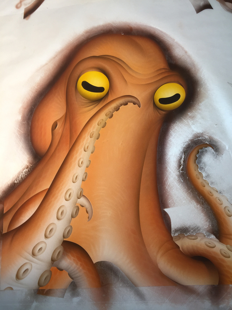 In process art for the octopus almost finished.... I know, airbrush, it's just so much faster for me... Some textures and highlights I will add in Photoshop later....