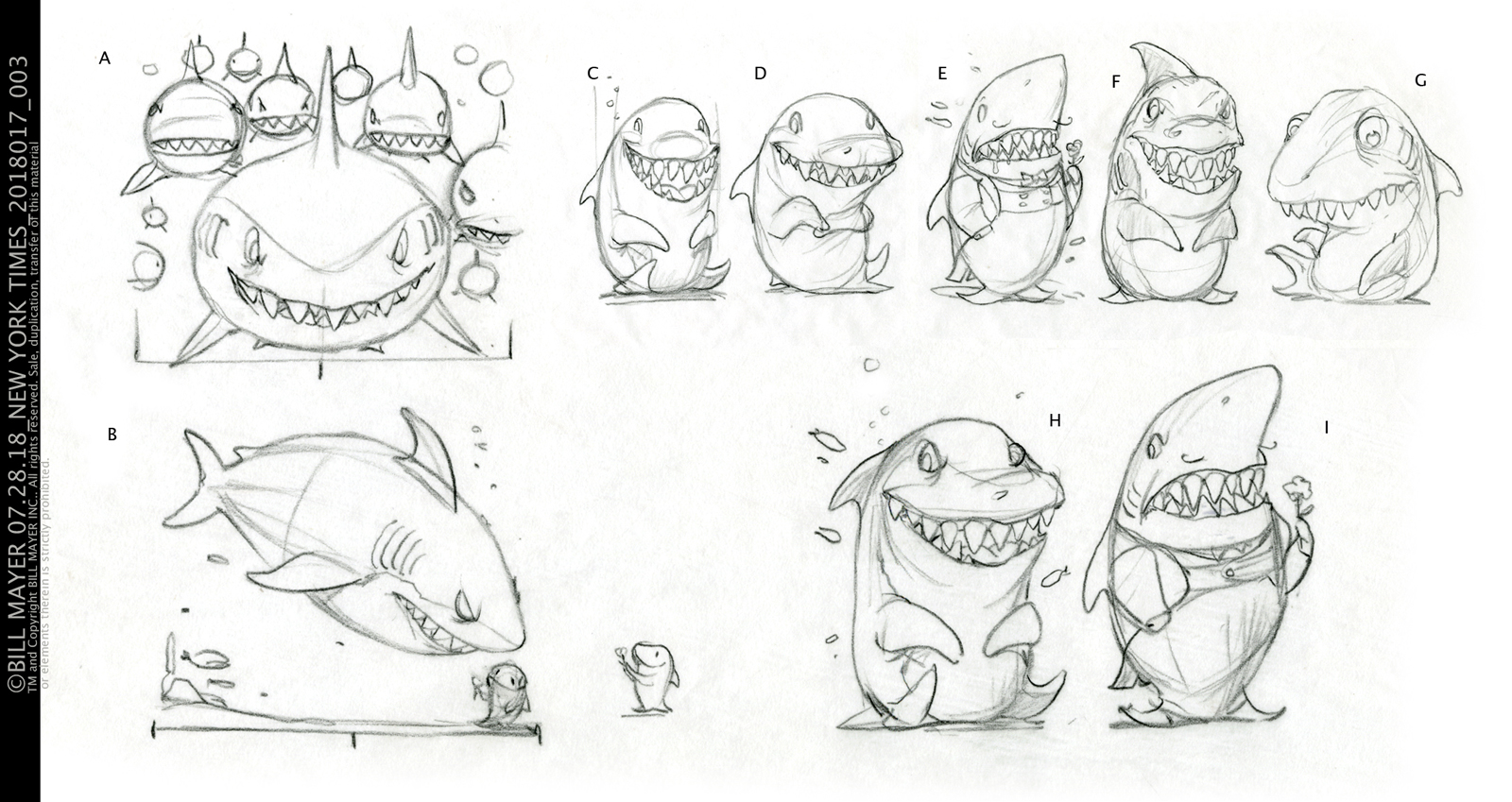"character sketches to get just the right hero shark. Tow different options for the spread…. The first ""B""was a reveal that would make the cover shark appear on the inside but dwarfed by the ""girl friend""We went with ""A"" the wall of sharks coming at you."