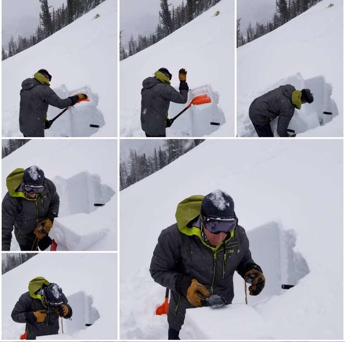 Mark Yancey checking the snowpack 3 January