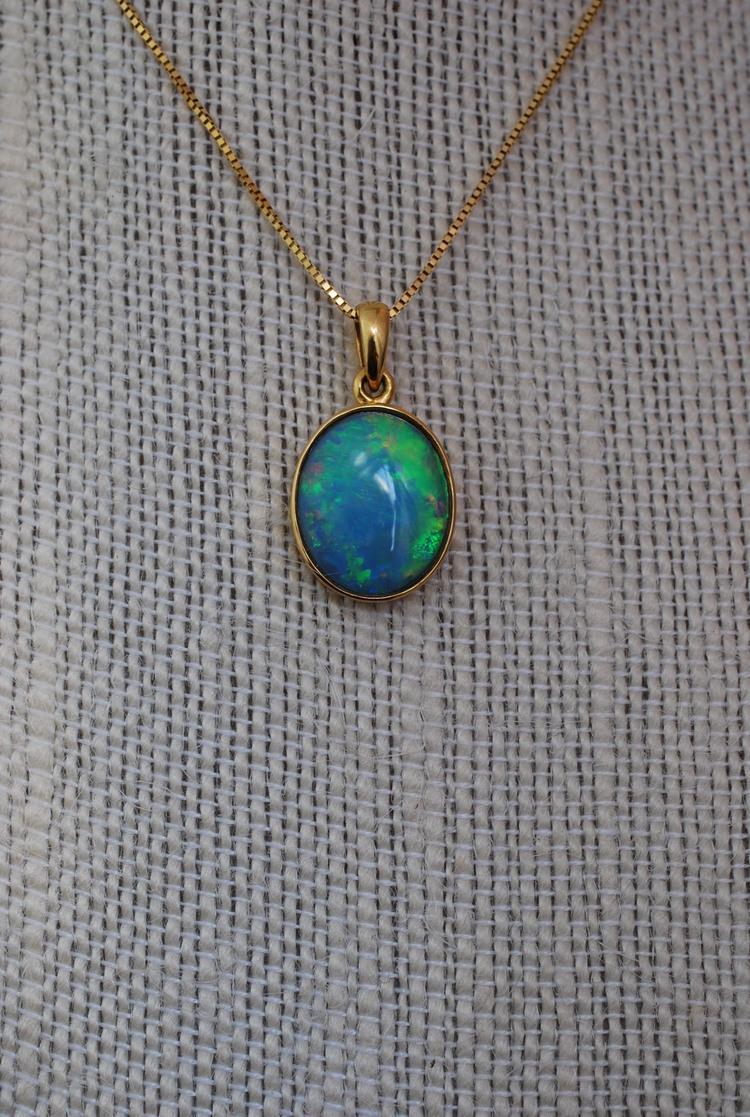 Sugelite /& Coober Pedy Opal 14K Gold Pendant