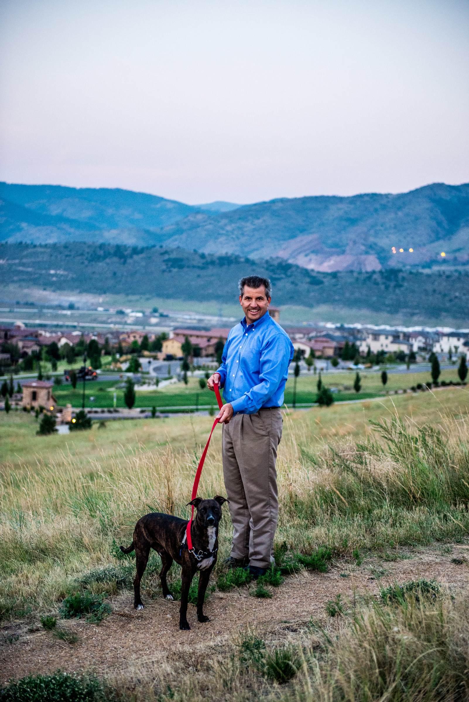 Andrew Nagel walking his dog in Solterra.
