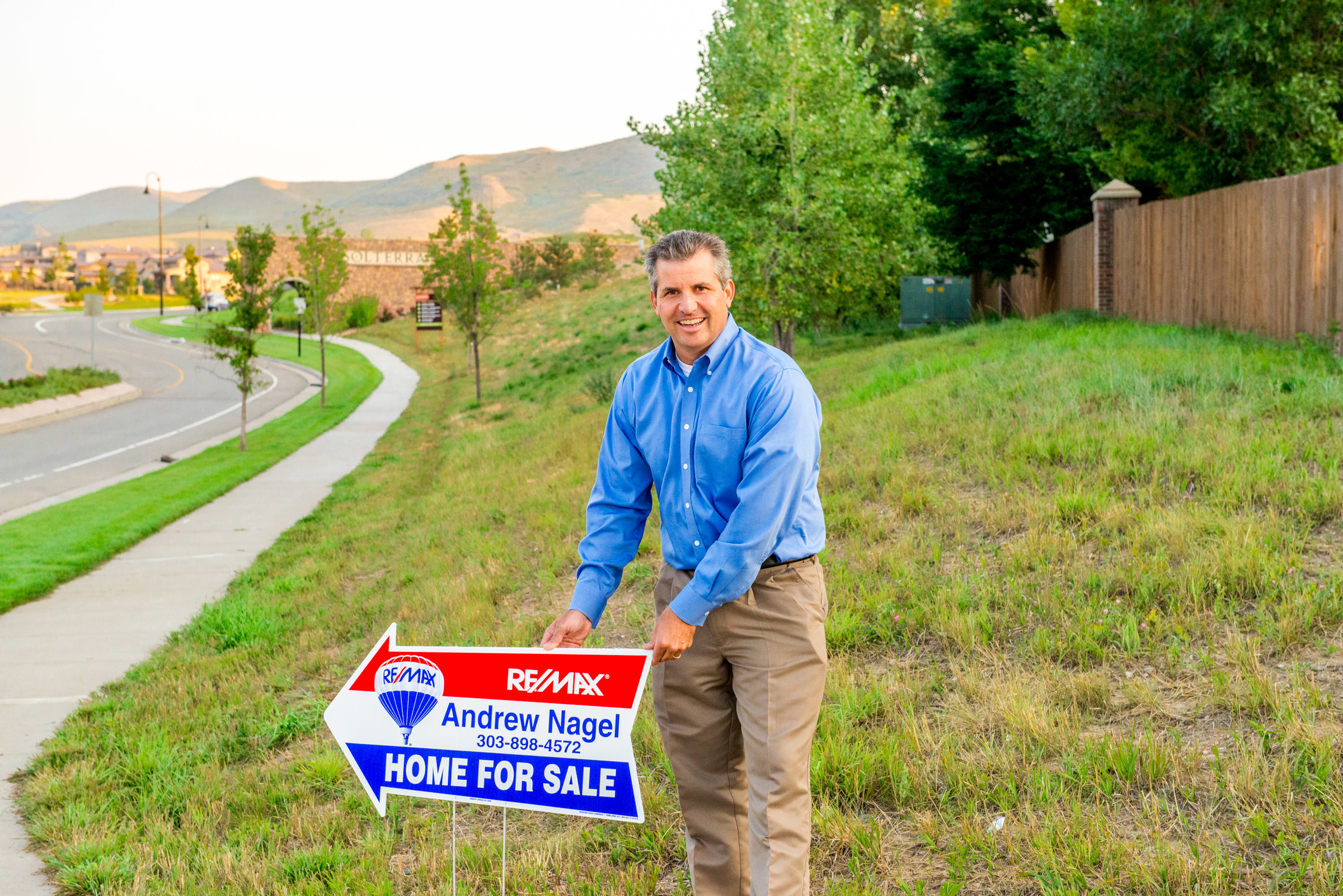 Andrew Nagel putting out directional signs in Solterra