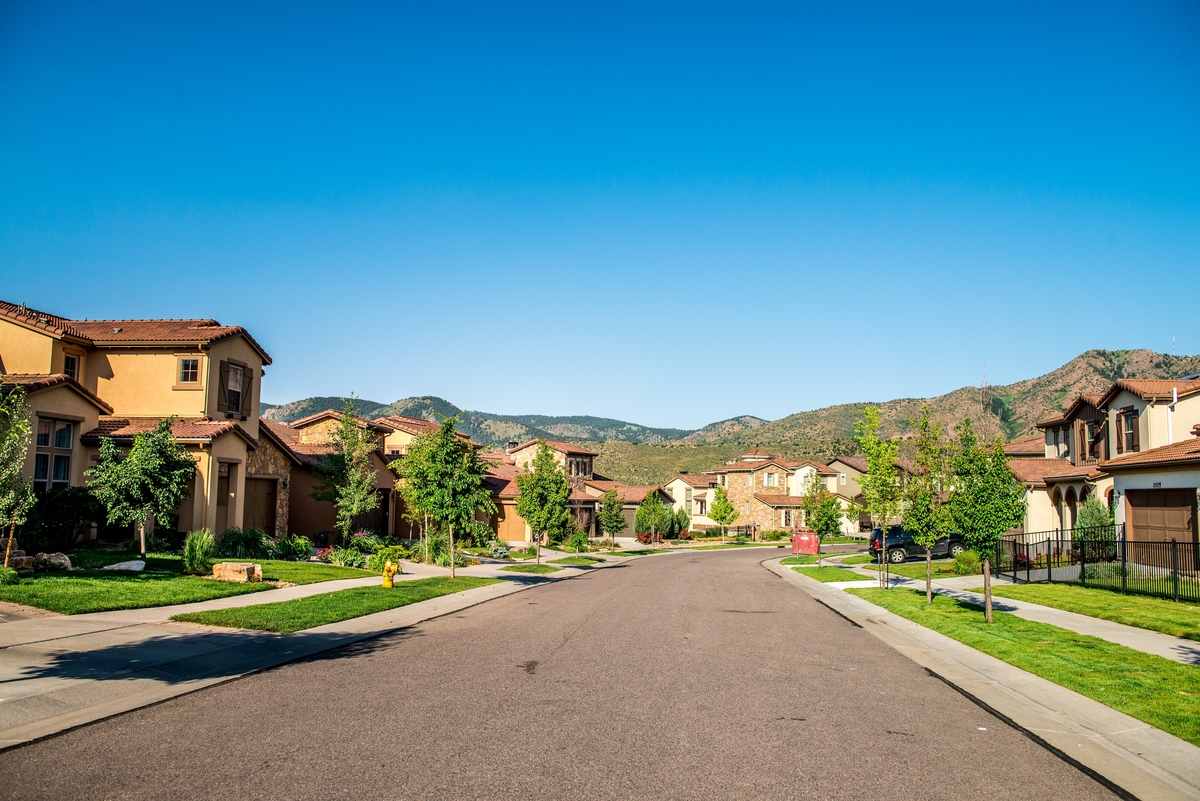 Solterra neighborhood in Lakewood, Co, nestled against the foothills.