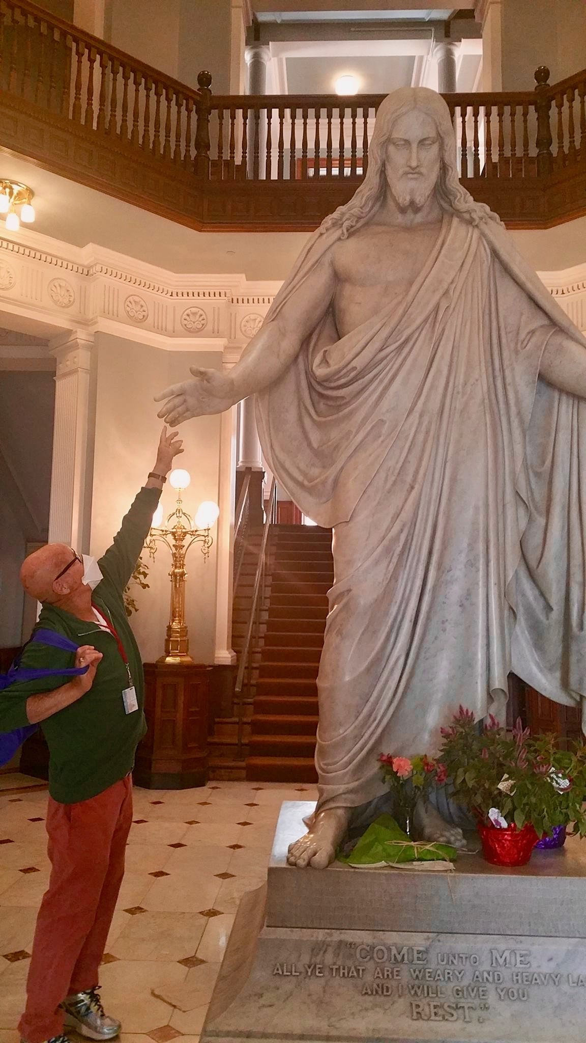 Jesus at Johns Hopkins statue reaching down to touch Sam September 11 2017.jpg