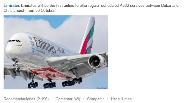 Emirates tiena más de 600k seguidores en Linkedin