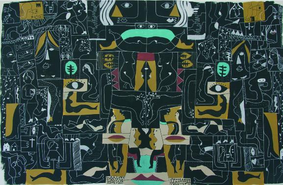 Wild Party espejo I, 2016 Mixto Acrílico, plástica y spray/lienzo 121 x 188 cm
