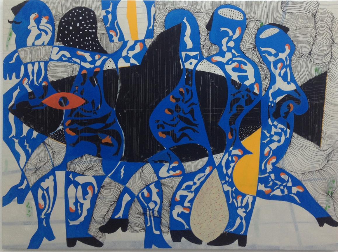 Quién quiere jugar a ladrones y ministros 2016 Mixto Acrílico, plástica y spray/lienzo 114 x 154 cm